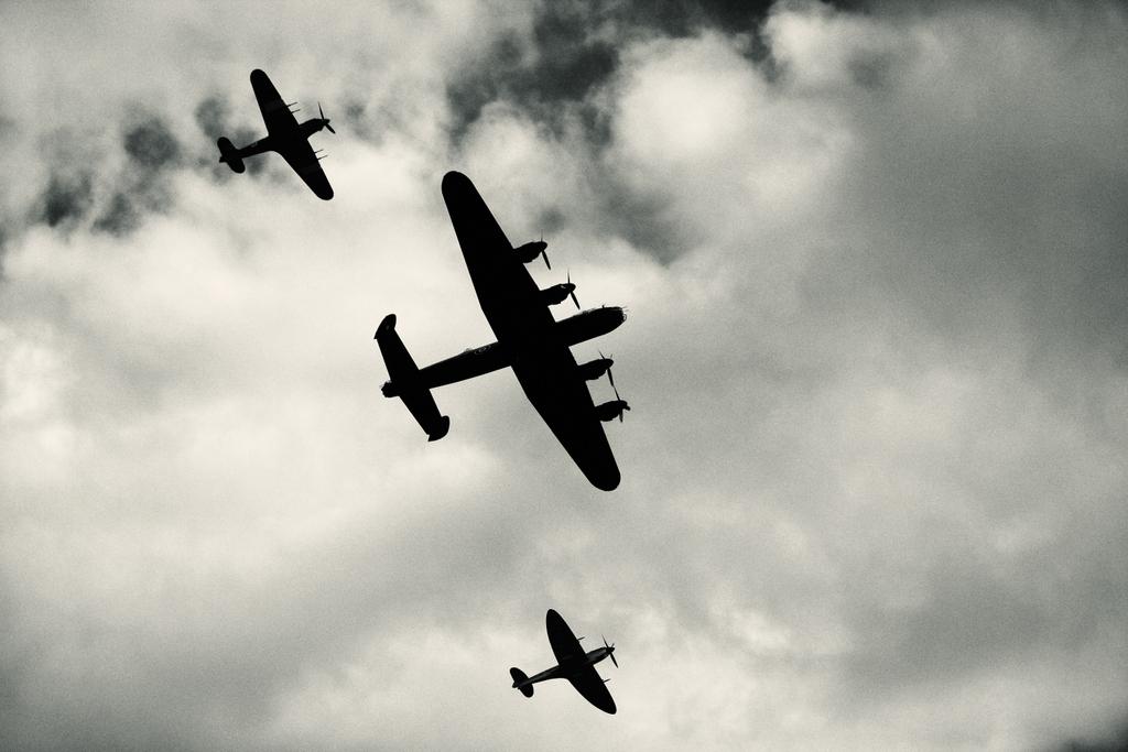 Battle of Britain Memorial Flight in Silhouette