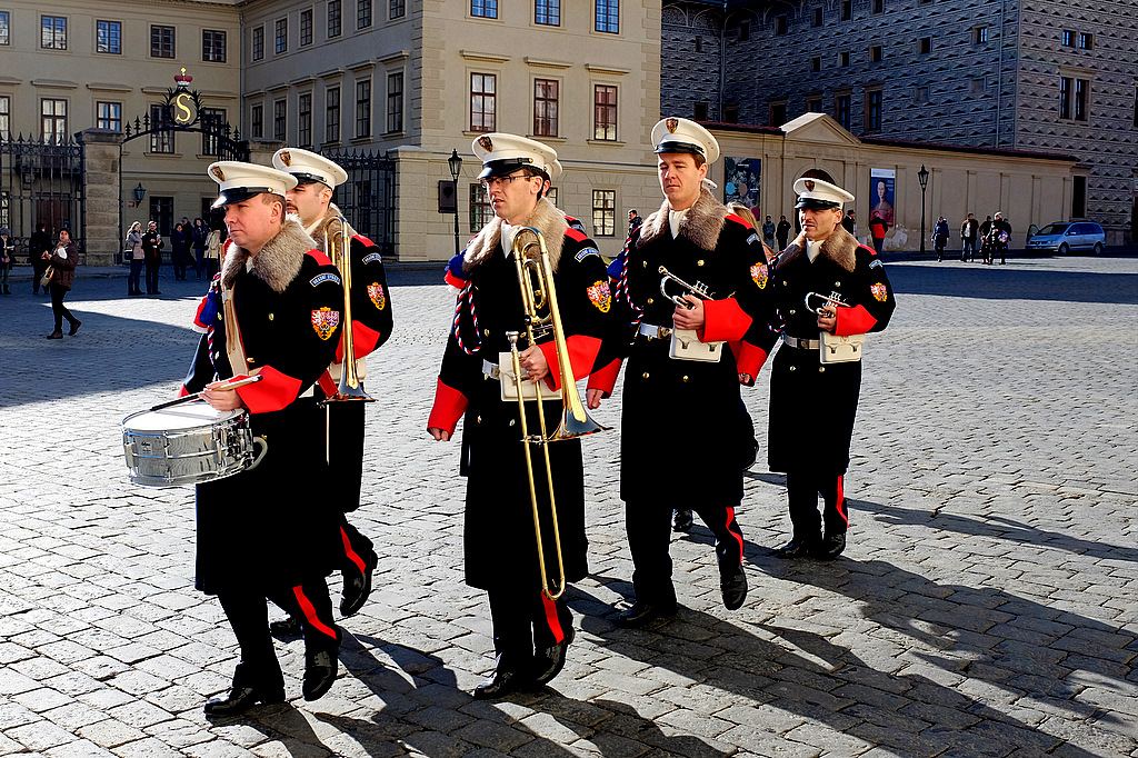 The Band On Their Way To Prague Castle