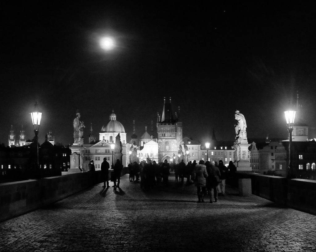Moon Over Prague Old Town from Charles Bridge