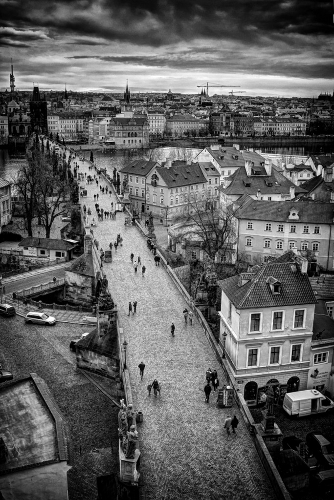 View of the Charles Bridge From the Tower at one end