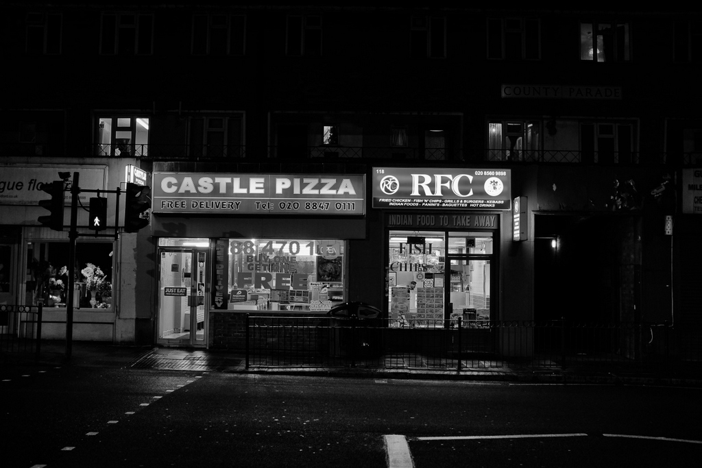 Castle Pizza, never been but I'd say no. And as for the Brentford Rangers shop - no idea what's going on there