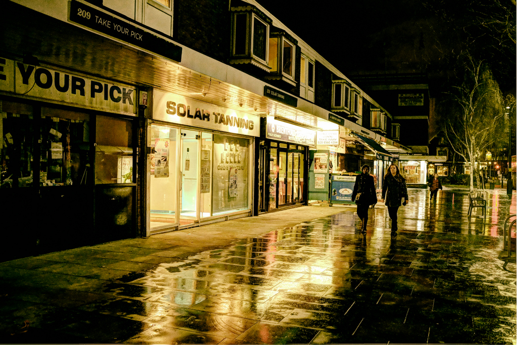 like all great metropolitan centres, Brentford is lit up at night by a spectacular light display - like the glow coming from Solar Tanning