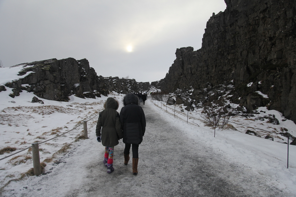 Passing between the US and Eurasian Tectonic Plates in Þingvellir Narional Park