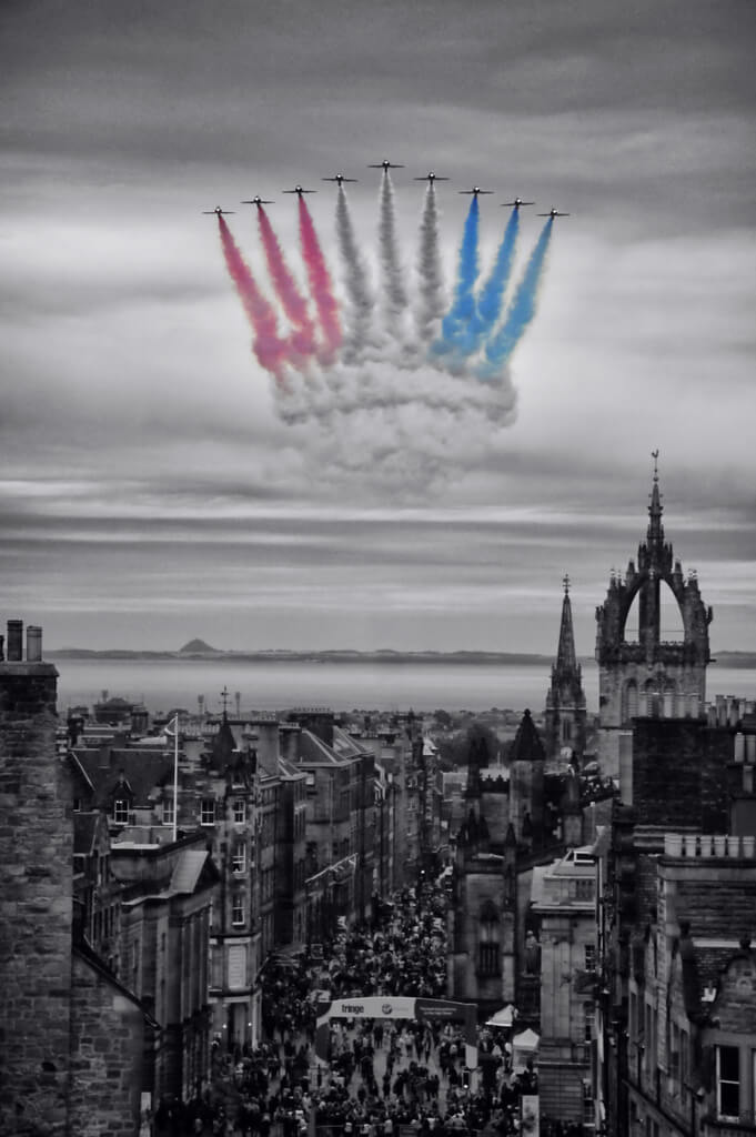 Last, but not least, the Red Arrows flying up the Royal Mile